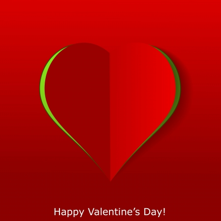 Abstract paper heart on red background  Valentines day greeting card illustration Stock Vector - 17560282