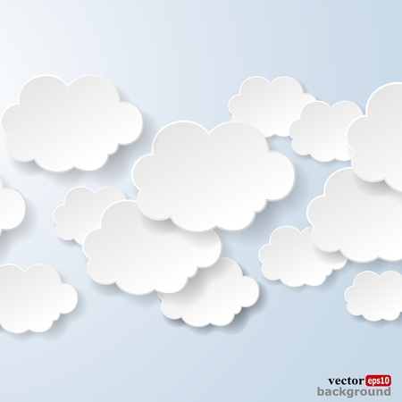 Abstract speech bubbles in the shape of clouds used in a social networks on light blue background  illustration Vectores