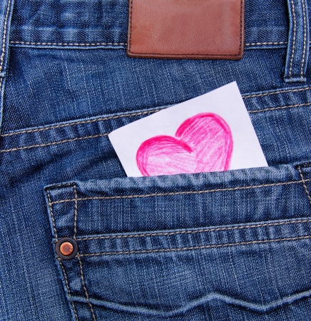 Valentines day card in jeans pocket  photo