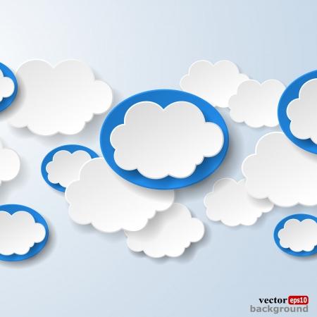 明るい青の背景に社会的なネットワークで使用される雲の形の吹き出しを抽象化します。