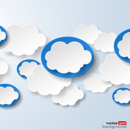Abstract speech bubbles in the shape of clouds used in a social networks on light blue background.