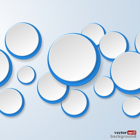 Abstract white and blue paper circles on light blue background. Stock Vector - 18405677