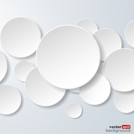 Abstract white paper circles on light blue background.  Vector