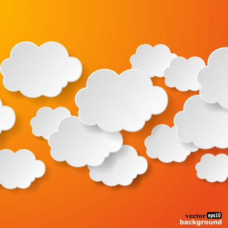 orange background: Abstract speech bubbles in the shape of clouds used in a social networks on orange background.