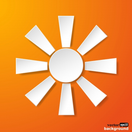 Abstract white paper sun on orange background. Stock Vector - 18405670