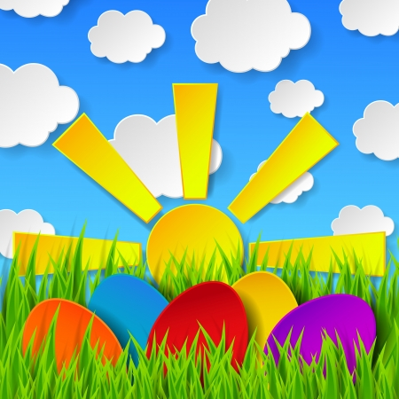 Abstract Easter eggs made of paper on colorful spring background with green grass, sun, sky and clouds.  Vector
