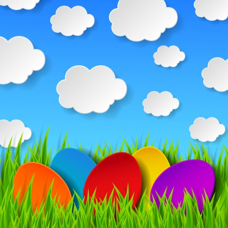 spring background: Abstract Easter eggs made of paper on colorful spring background with green grass, sky and clouds.