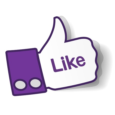 like: Thumbs up paper sticker used in a social networks.  Illustration