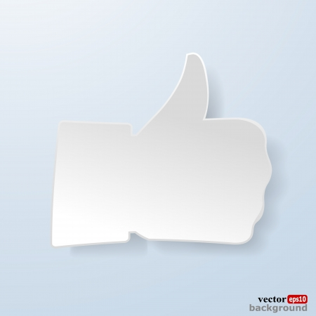 Thumbs up paper sign on light blue background. Like symbol used in a social networks. Stock Vector - 18405801
