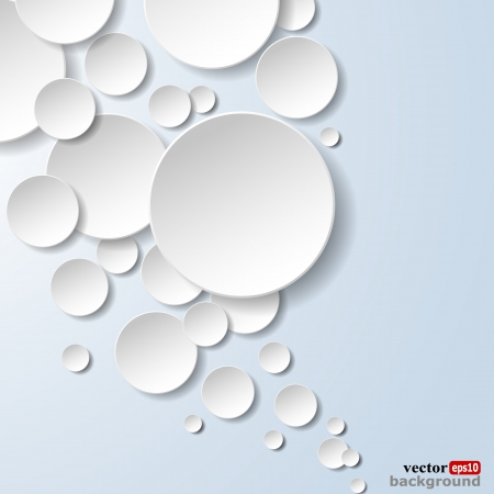 Abstract white paper circles on light blue background.  Stock Vector - 18405804