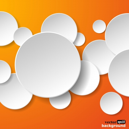 Abstract white paper speech bubbles in the shape of a circles on orange background.  Vector