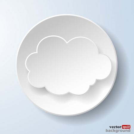 Abstract paper speech bubble in the form of a cloud on light blue background. Stock Vector - 18405805