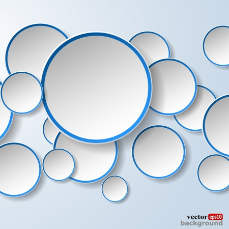 Abstract white paper speech bubbles in the shape of a circles on light blue background. Stock Vector - 18405675