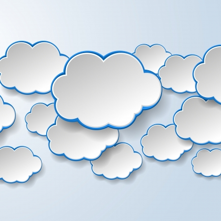 Abstract white paper speech bubbles on light blue background. Cloud services concept.