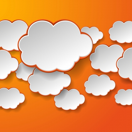 Abstract white paper speech bubbles on orange background. Cloud technology concept. Stock Vector - 18405681