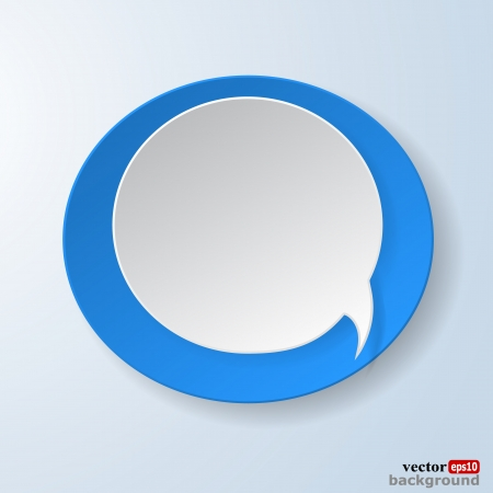 Abstract paper speech bubble on light blue background.  Illustration