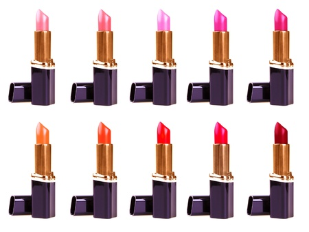Beautiful lipsticks isolated on white background photo