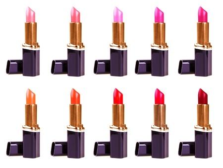 gamma tone: Beautiful lipsticks isolated on white background