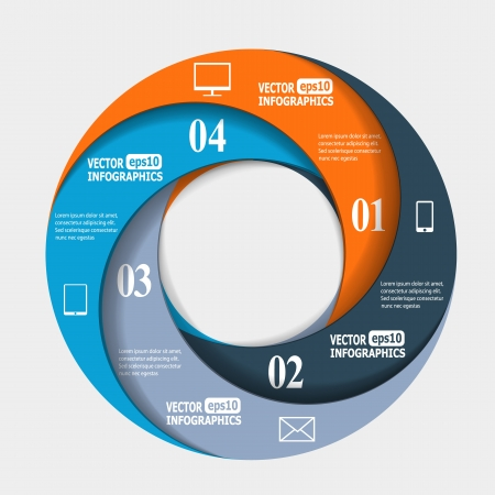 info business: Abstract paper infografics in a circle shape.