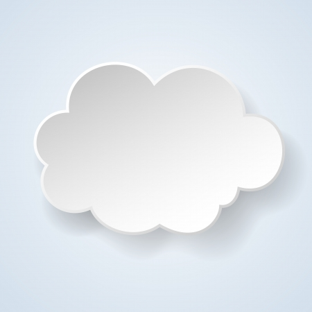 Abstract paper speech bubble in the form of a cloud on light blue background.  Stock Vector - 18991574