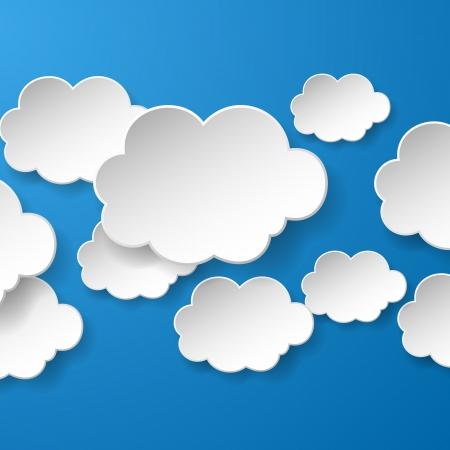 Abstracte tekstballonnen in de vorm van wolken die in een sociale netwerken op een blauwe achtergrond.