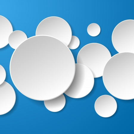 Abstract white paper circles on blue background.  Vectores