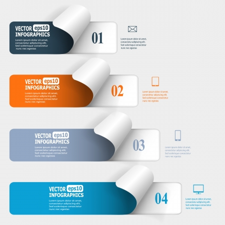 Abstract paper infographics.   Vector