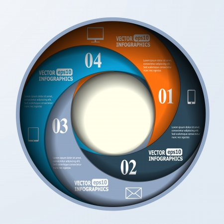 Abstract paper infographics in a circle shape.   Vector