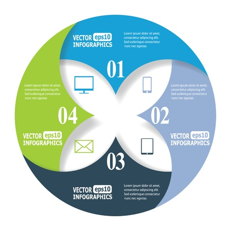Modern business infographic banners from paper in a circle shape.   矢量图像