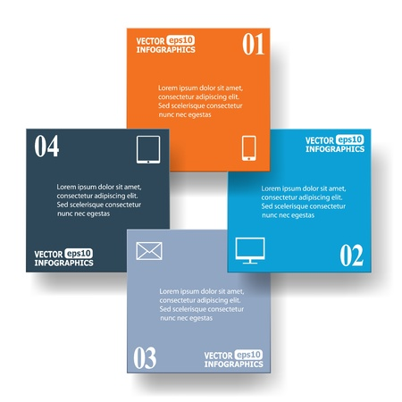 corner design: Modern business infographic banners from paper.