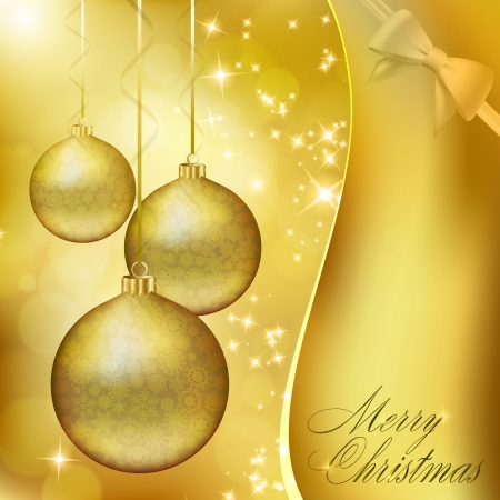 Golden Christmas balls on abstract gold background. Vector  Vector