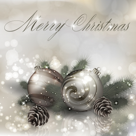 Merry Christmas greeting card with Christmas balls. Vector eps10 illustration Stock Vector - 23087203