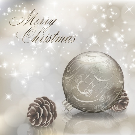 Silver Merry Christmas greeting card with xmas ball. Vector eps10 illustration Vector