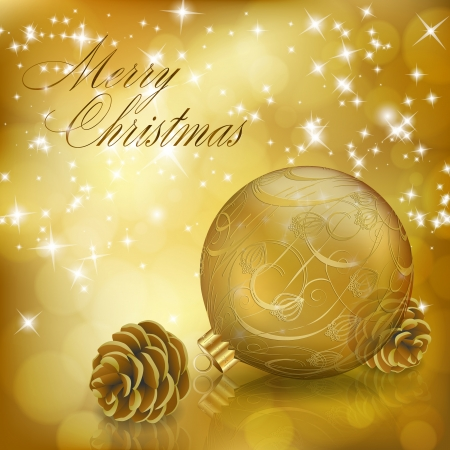Golden Xmas greeting card with gold Christmas ball and cones. Vector eps10 illustration