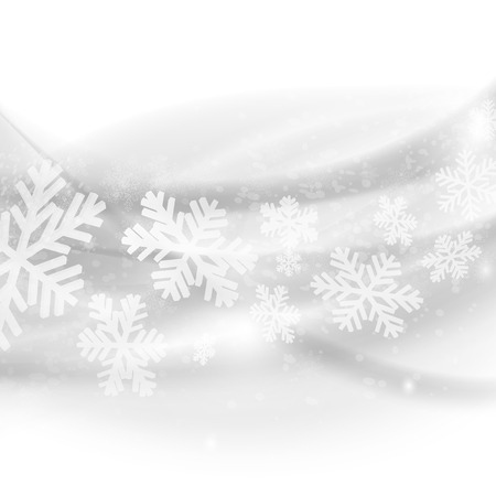 Merry Christmas background. Abstract light grey waves with snowflakes.  Vector