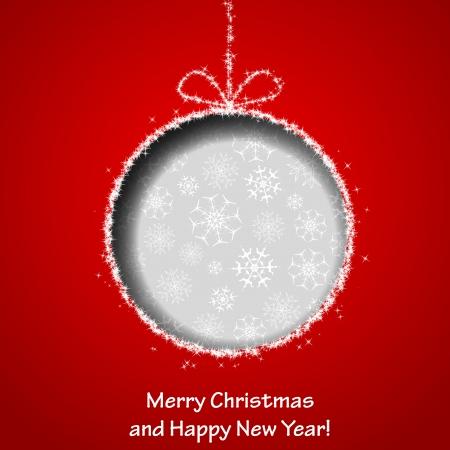 クリスマス ボールの赤い紙の背景から刈り取らと抽象的なクリスマスのグリーティング カード。