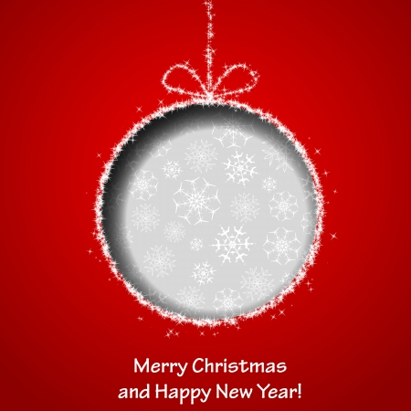 Abstract Xmas greeting card with Christmas ball cutted from red paper background.  Vectores