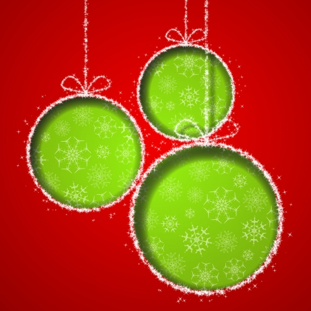 Abstract Xmas greeting card with green Christmas balls cutted from red paper background.