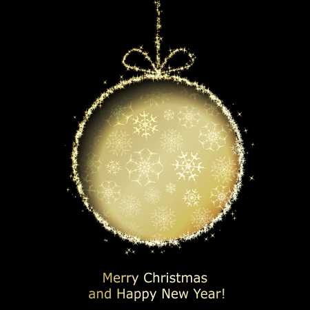 Abstract Xmas greeting card with golden Christmas ball cutted from black paper background. Vector eps10 illustration Vector