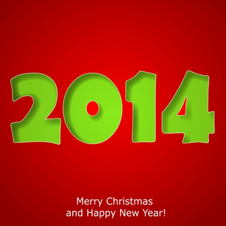 Modern Merry Christmas and Happy New Year greeting card.  Vector