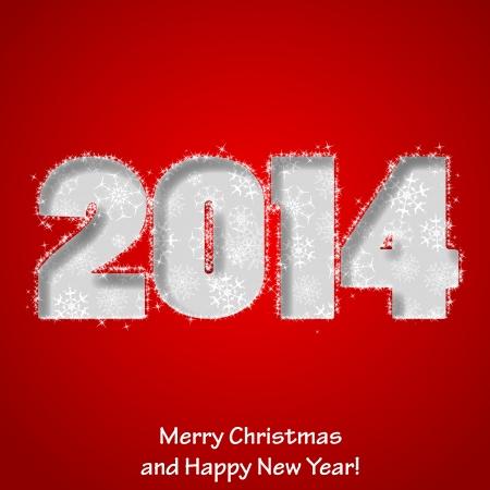 現代の陽気なクリスマスと幸せな新年グリーティング カード。