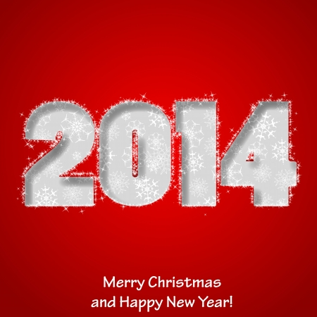 Modern Merry Christmas and Happy New Year greeting card.
