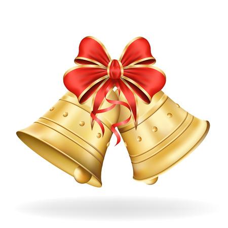 adornos navideños: Campanas de Navidad con lazo rojo sobre fondo blanco. Decoraciones de Navidad.
