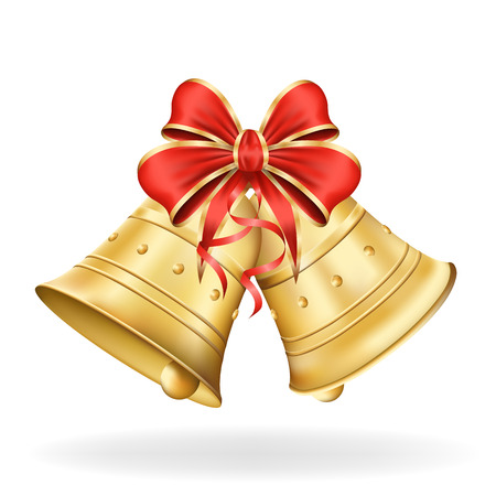 Christmas bells with red bow on white background. Xmas decorations.  Vector