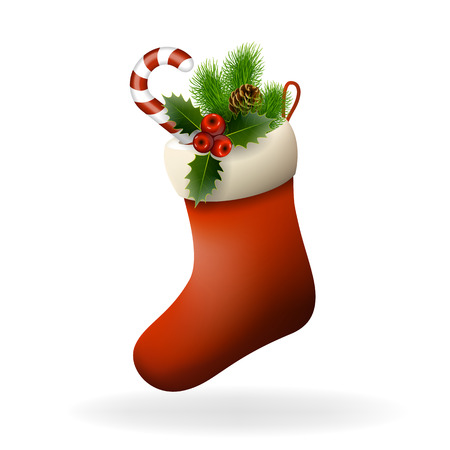 christmas sock: Red Christmas sock with holly berries, candy and fir branch. Xmas greeting card. Vector eps10 illustration