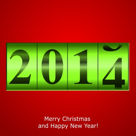 new year counter: Green New Year counter on red background. Vector eps10 illustration