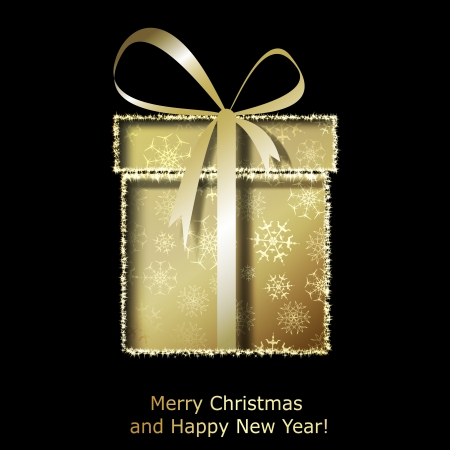 christmas gift box: Modern Xmas greeting card with golden Christmas gift box. Vector eps10 illustration