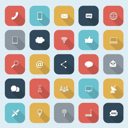 Trendy communication icons set in flat design with long shadows for web, mobile applications etc.  Vector