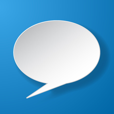 chat balloon: Abstract paper speech bubble on blue