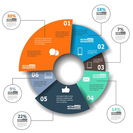웹, 배너, 모바일 애플리케이션, 레이아웃 등 그림에 대한 원형 차트에서 현대 종이 인포 그래픽 일러스트